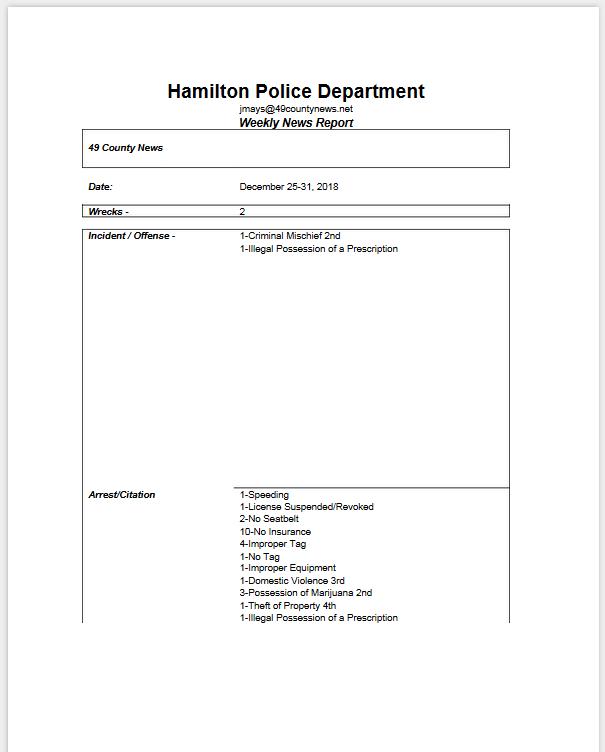 Hamilton Al Police Reports | 49 County News Net