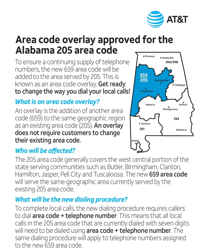 205/659 : New Area Code Approved for Central Alabama | 49